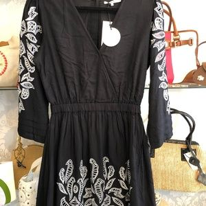TULAROSA Black w/ Silver Embroidery Cut Out Dress